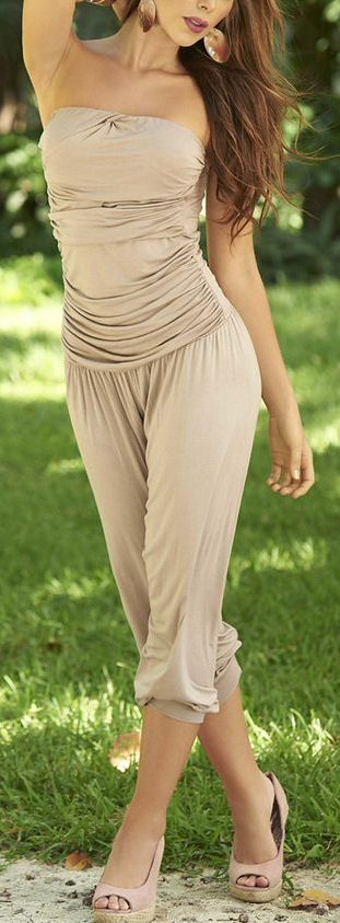 Mocha Ruched Strapless Jumpsuit - I would probably never wear one, but this one is really pretty