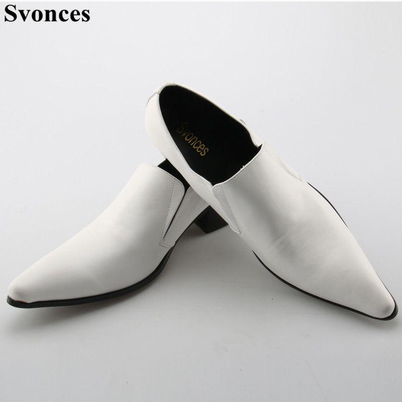 Pas cher Svonces Western Blanc En Cuir De Luxe Marque Italienne Chaussures  Homme Haute Talons Bout 039e6dadf6f