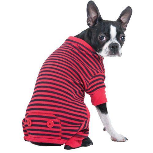 14 43 0 00 Fashion Pet Red Striped Dog Pajama X Small Fashion Pet Red Striped Dog Pajama Snuggling Up For An Ol Dog Pajamas Cute Dog Clothes Animal Fashion