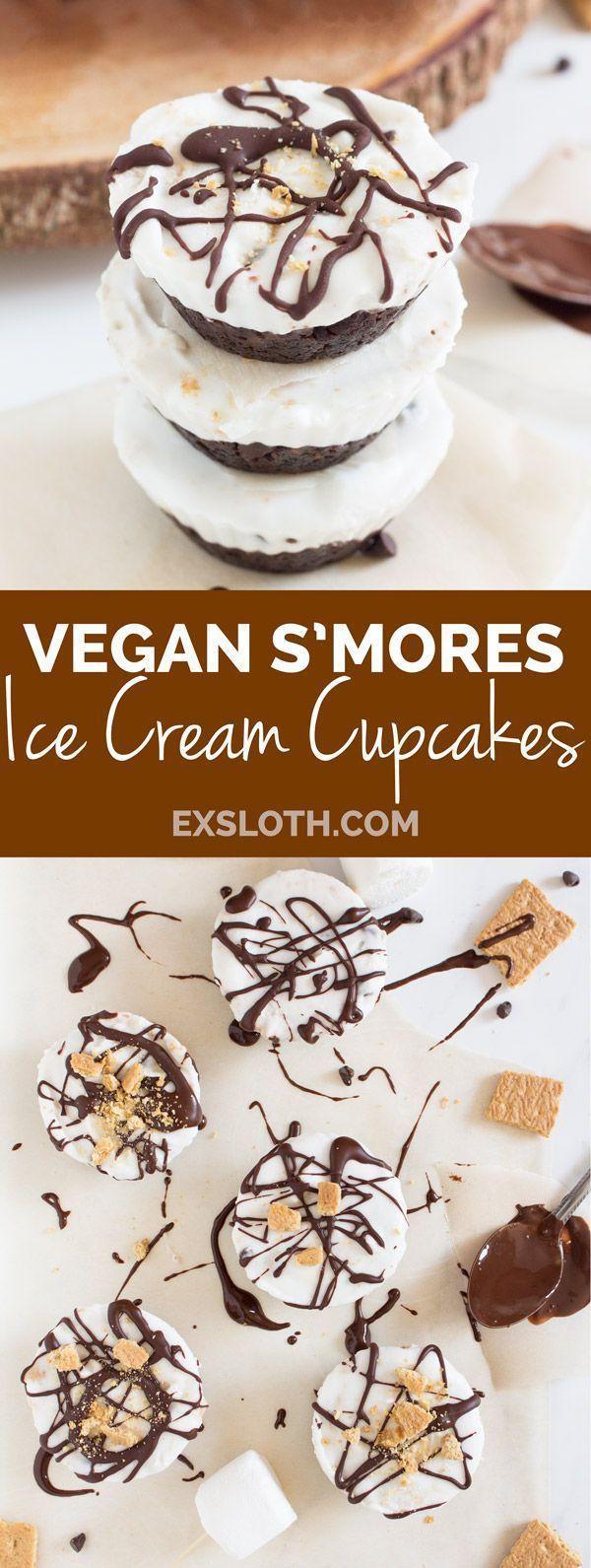 vegan s'mores ice cream cupcakes via /ExSloth/ | http://ExSloth.com