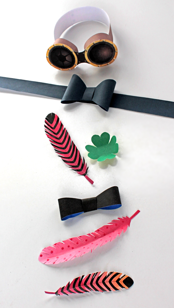 Printable mini paper top hat accesories: Feathers, bows and ribbons!