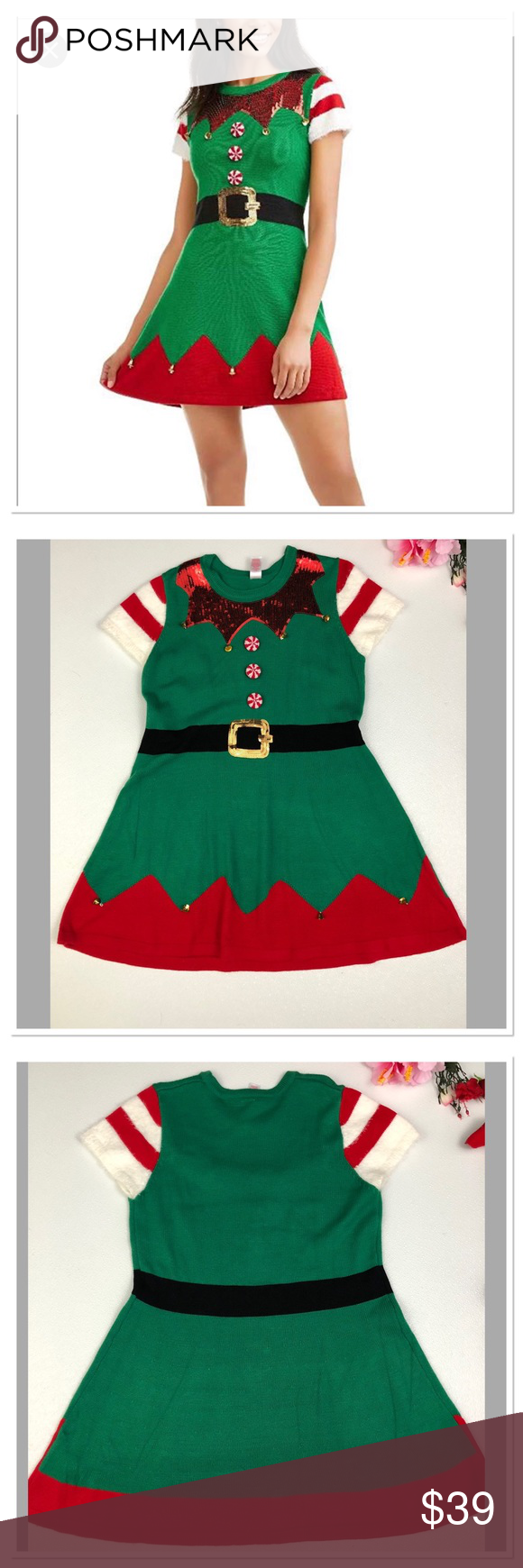 9785e98c8eabd Holiday Time Not Ugly Christmas Elf Sweater Dress Holiday Time Not Ugly  Christmas Elf Sweater Tunic/Dress Red and Green Embellished With Sequins,  ...