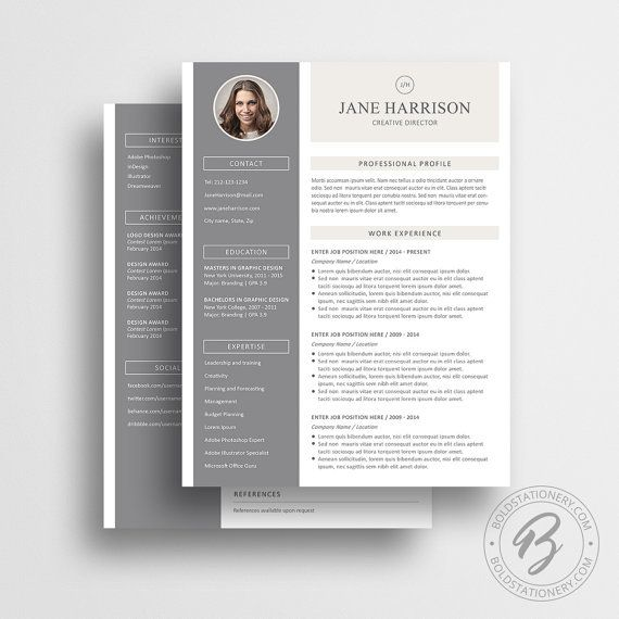 1 \ 2 page resume template with matching cover letter and - reference page for a resume