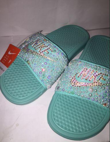 95d9429d118b Custom Bling Nike Flip Flop Slides Benassi - Custom Bling Nike Flip Flop  Slides Benassi