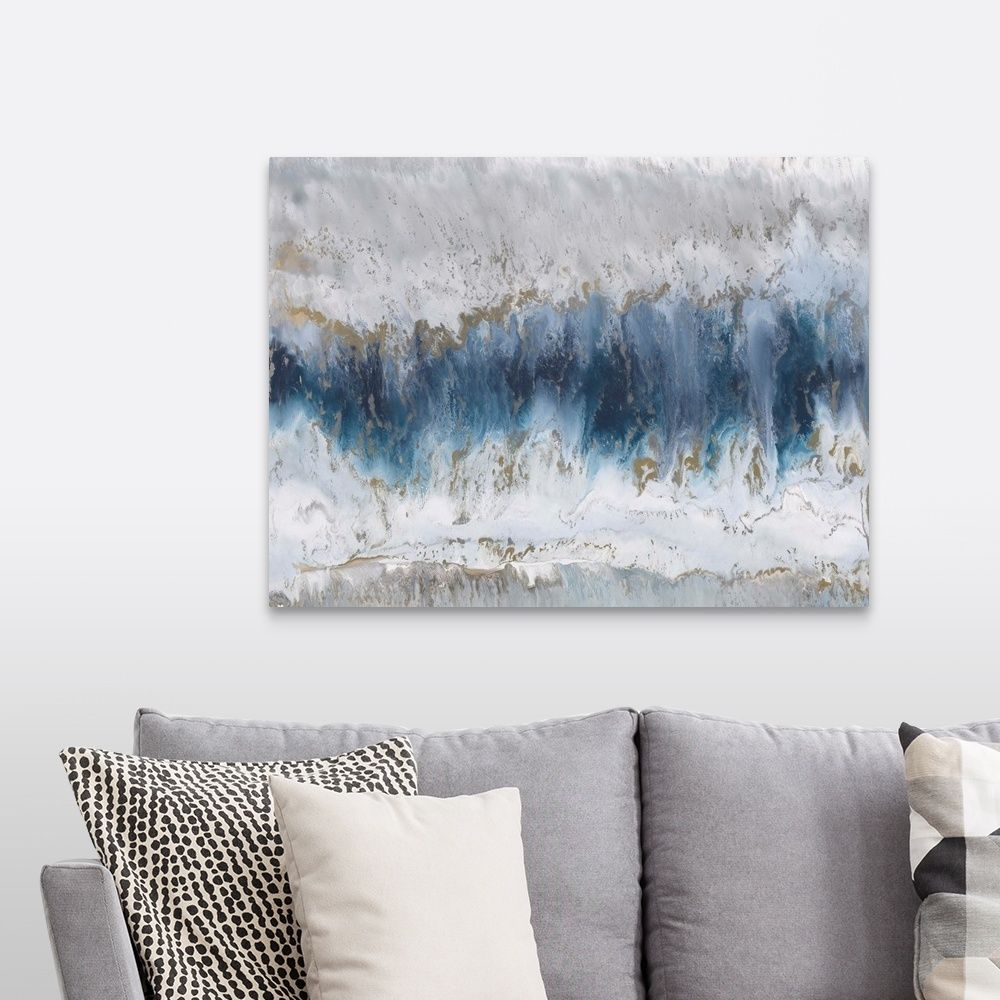 Moon Stone Grey Wall Art Grey Canvas Art Blue Abstract Art