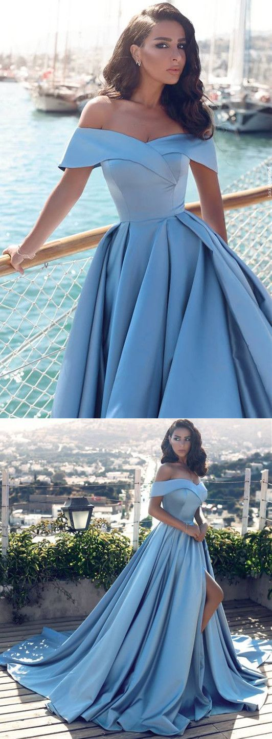 8e07aa8d3a0cd A-Line Off-the-Shoulder Court Train Blue Satin Prom Dress with ...
