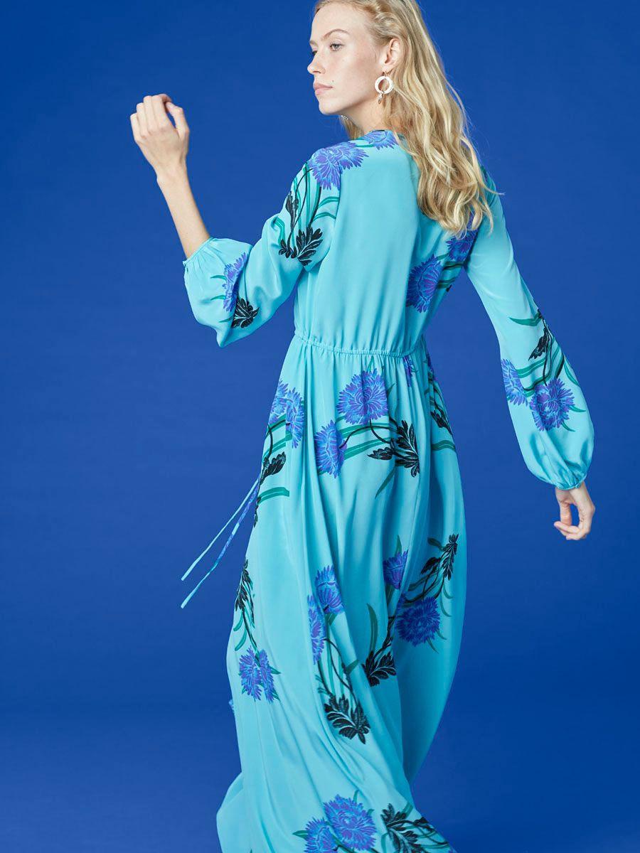 Long sleeve crew neck floorlength dress by diane von furstenberg