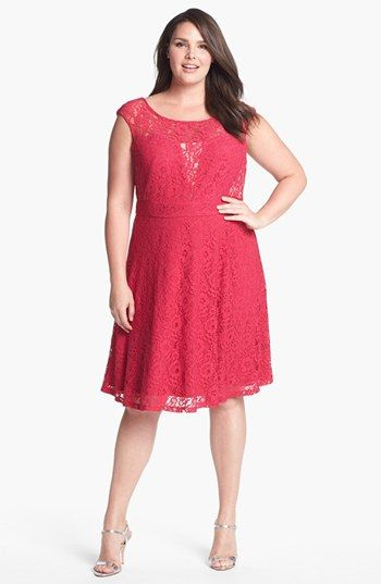 Donna Ricco Lace Fit Flare Dress Plus Size Available At