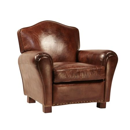 Aged Leather Club Chair. 100% Genuine Leather Club Chair Made With Durable  Frame And