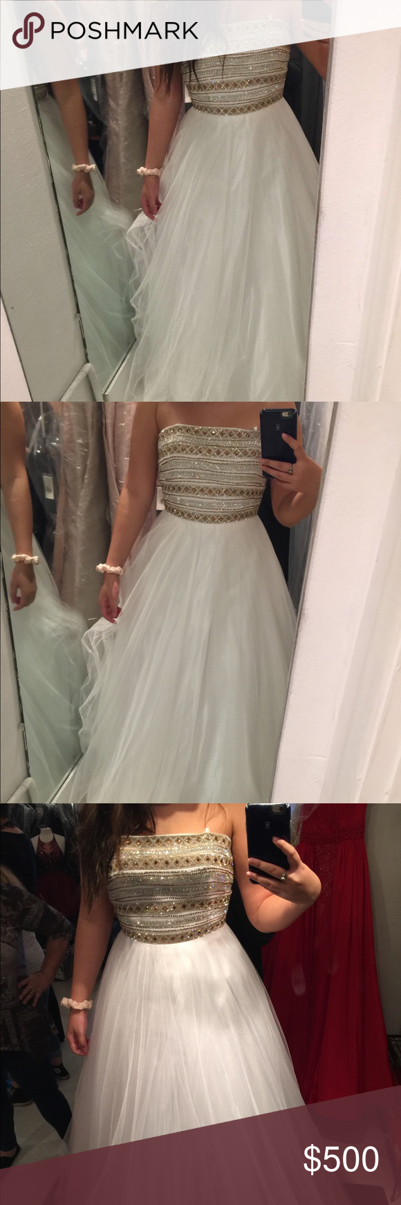 Prom dress prom and white gold