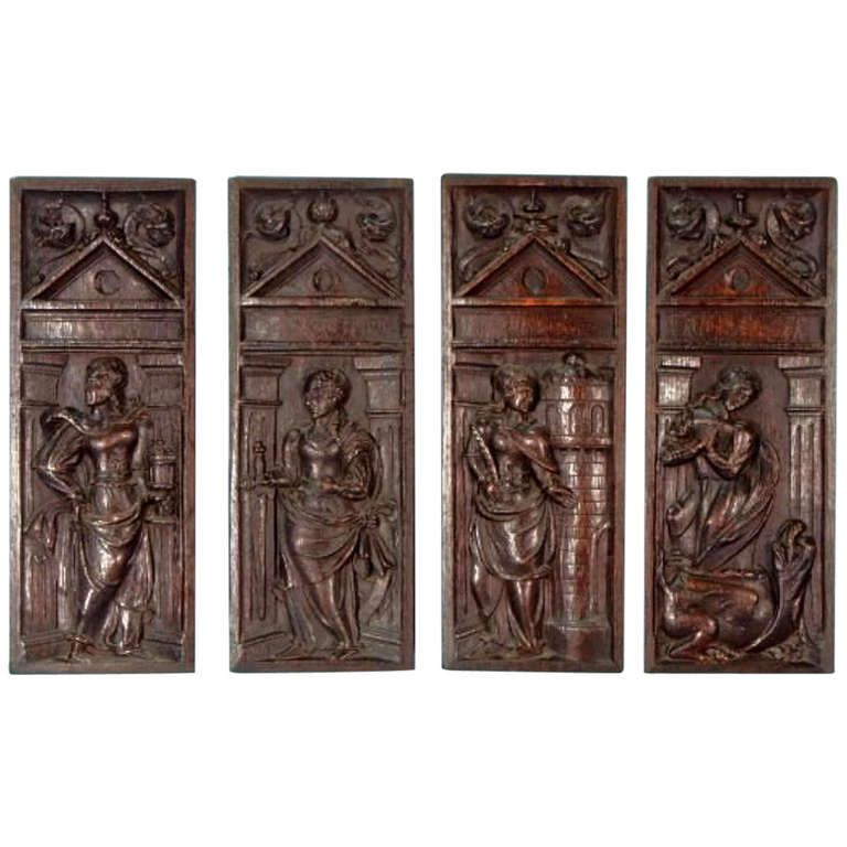Set of Four 16th Century Gothic Oak Panels | From a unique collection of antique and modern sculptures at http://www.1stdibs.com/furniture/more-furniture-collectibles/sculptures/