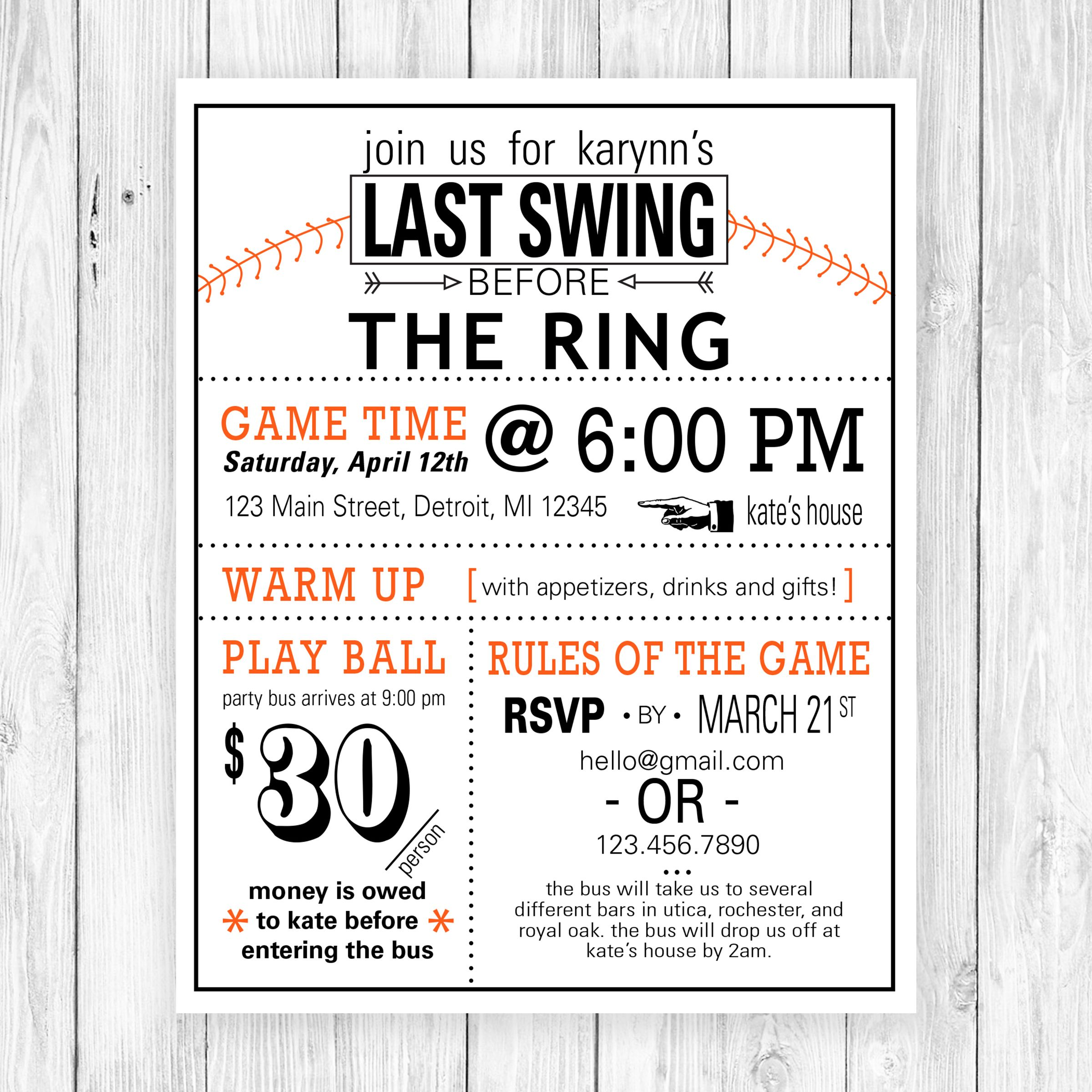 Fun and clever wording ties this baseball themed bachelorette party ...