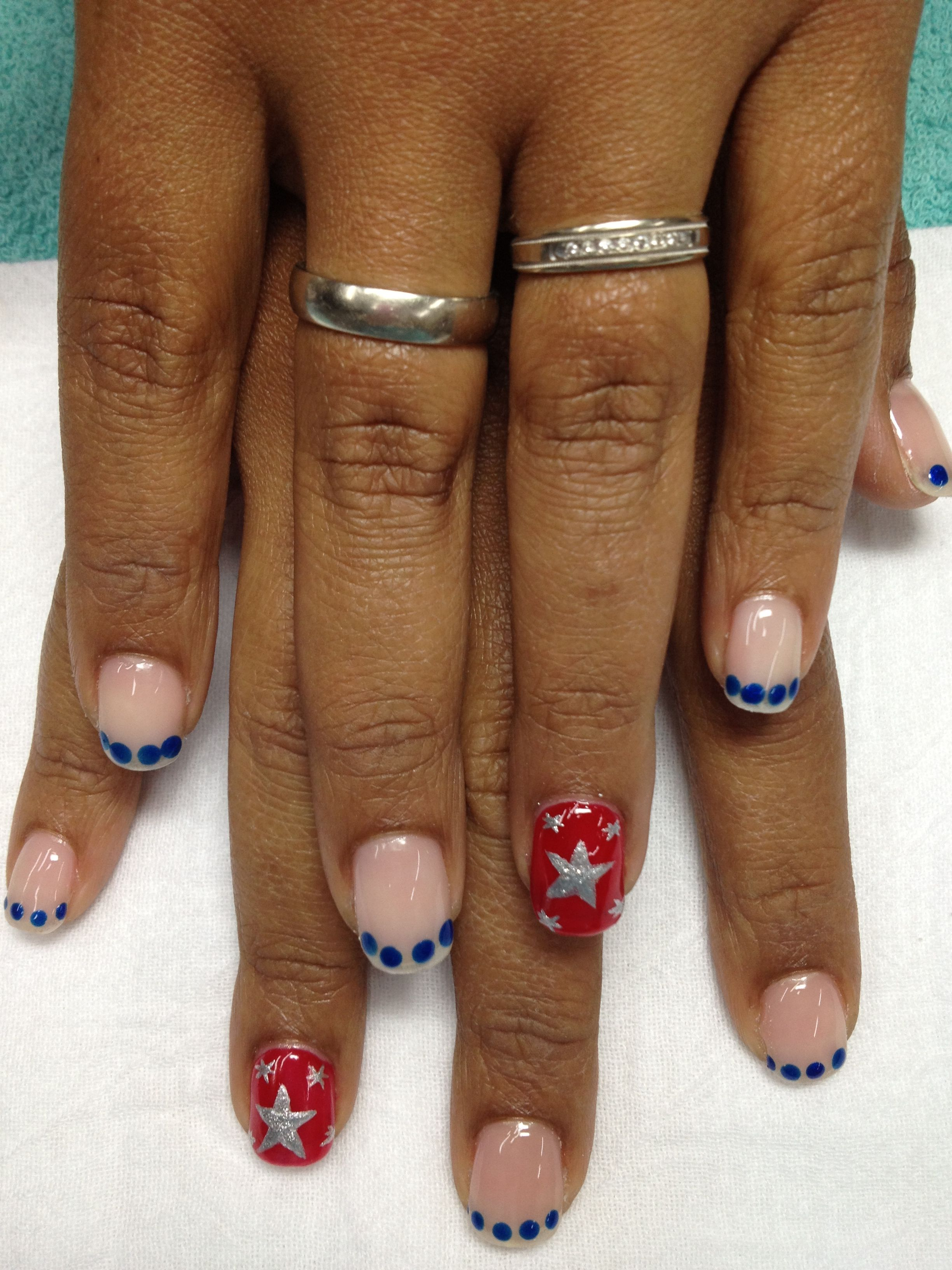 Fun 4th of July patriotic gel nails with blue dotted French. | Gel ...