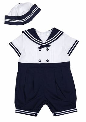b8138f37359d Sarah Louise Baby   Toddler Boys Classic White   Navy Blue Sailor Suit  Romper with Hat