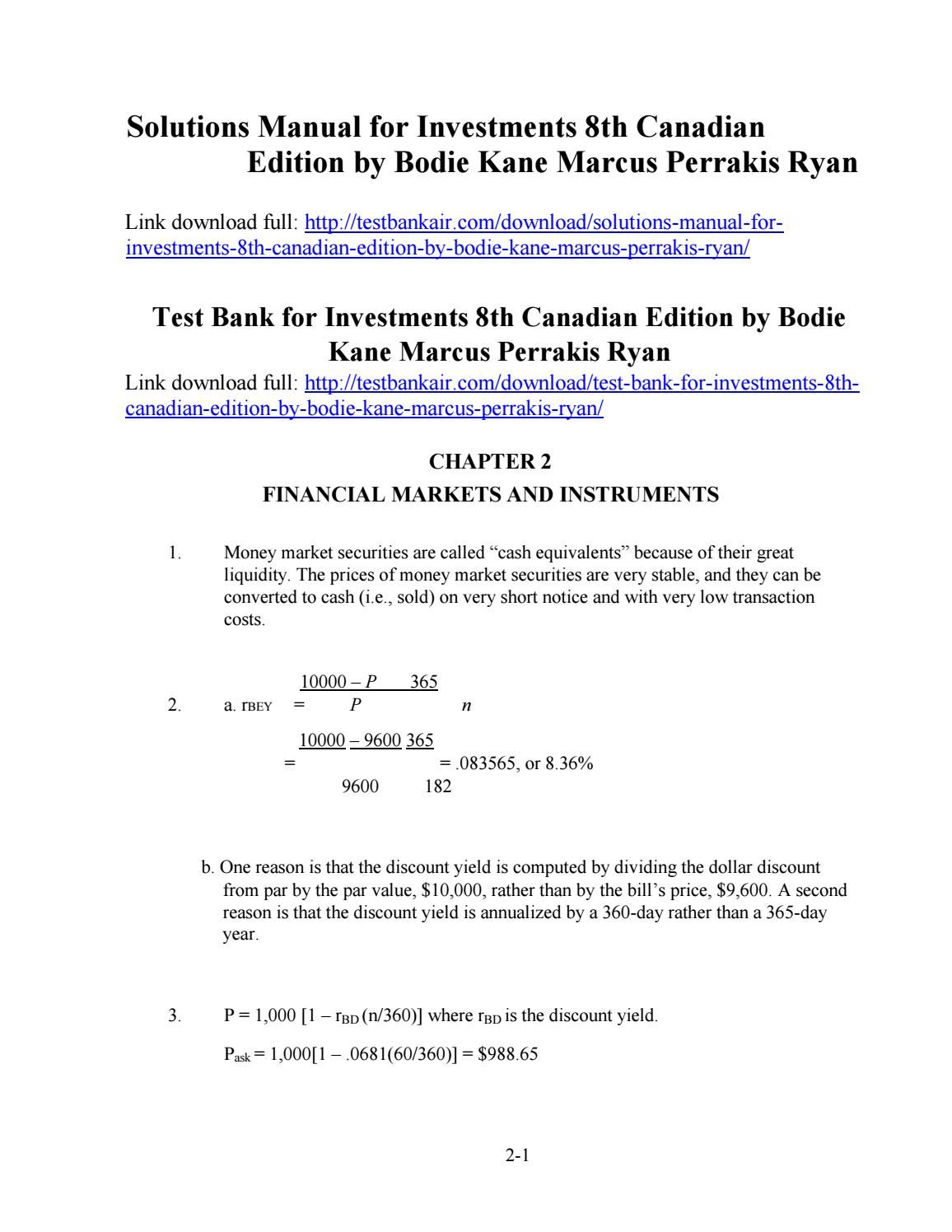 bodie kane investments 9th edition solutions manual