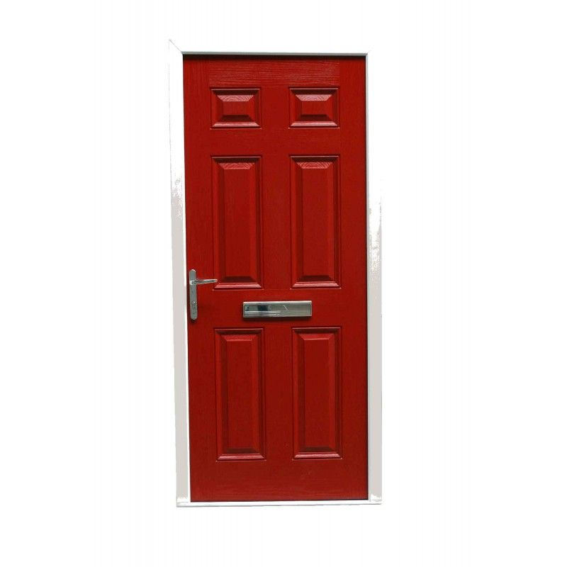 COLONIAL 6 PANEL TIMBER EFFECT COMPOSITE FRONT DOOR RED (2085MM X 920MM)