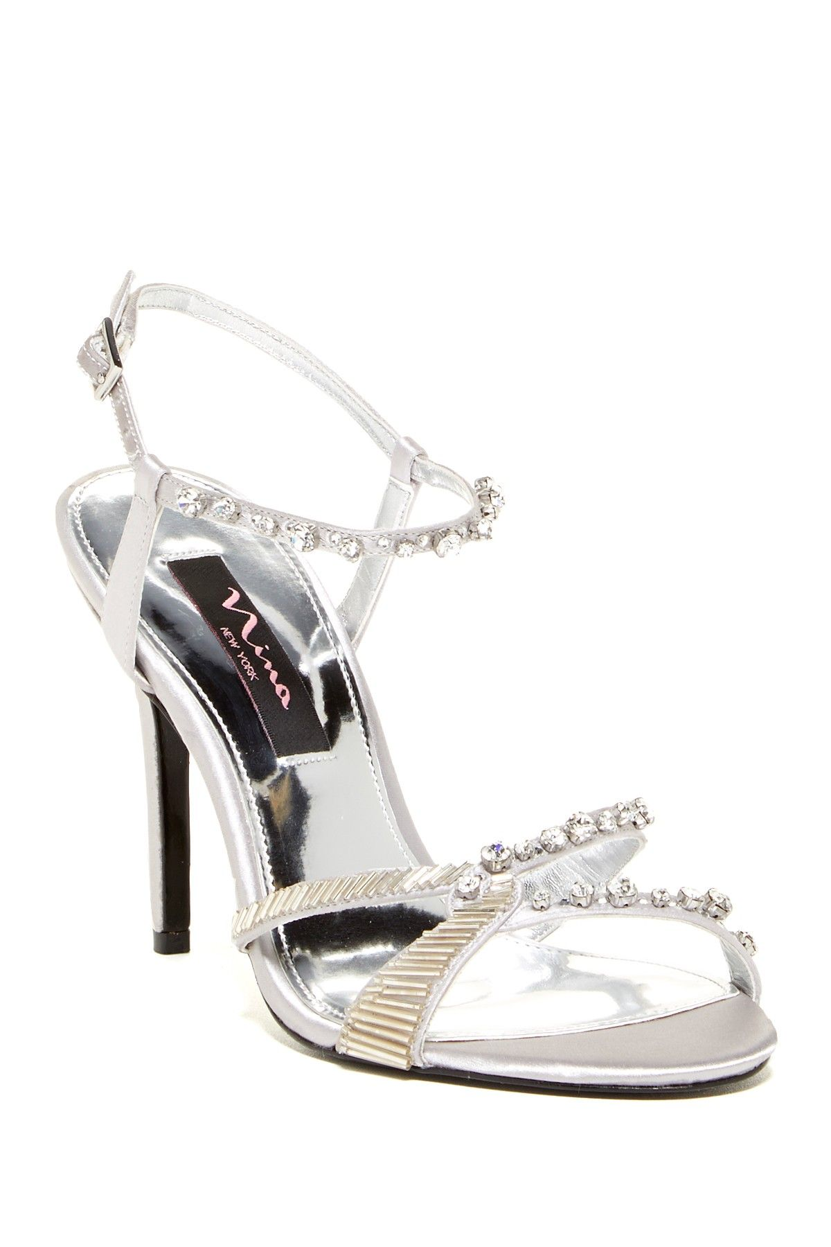 Beaded Jeweled Chimere Silver Dress Sandal By Nina Shoes