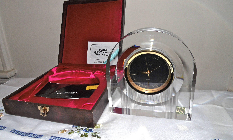 Bulova Hoya Crystal Alarm Clock w/ Case by SquarenutsShop on Etsy
