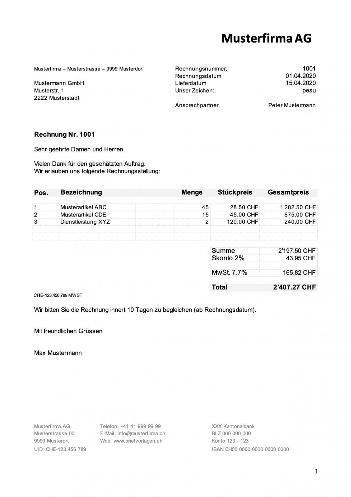 Rechnungsvorlage Und Musterrechnung Kostenlos