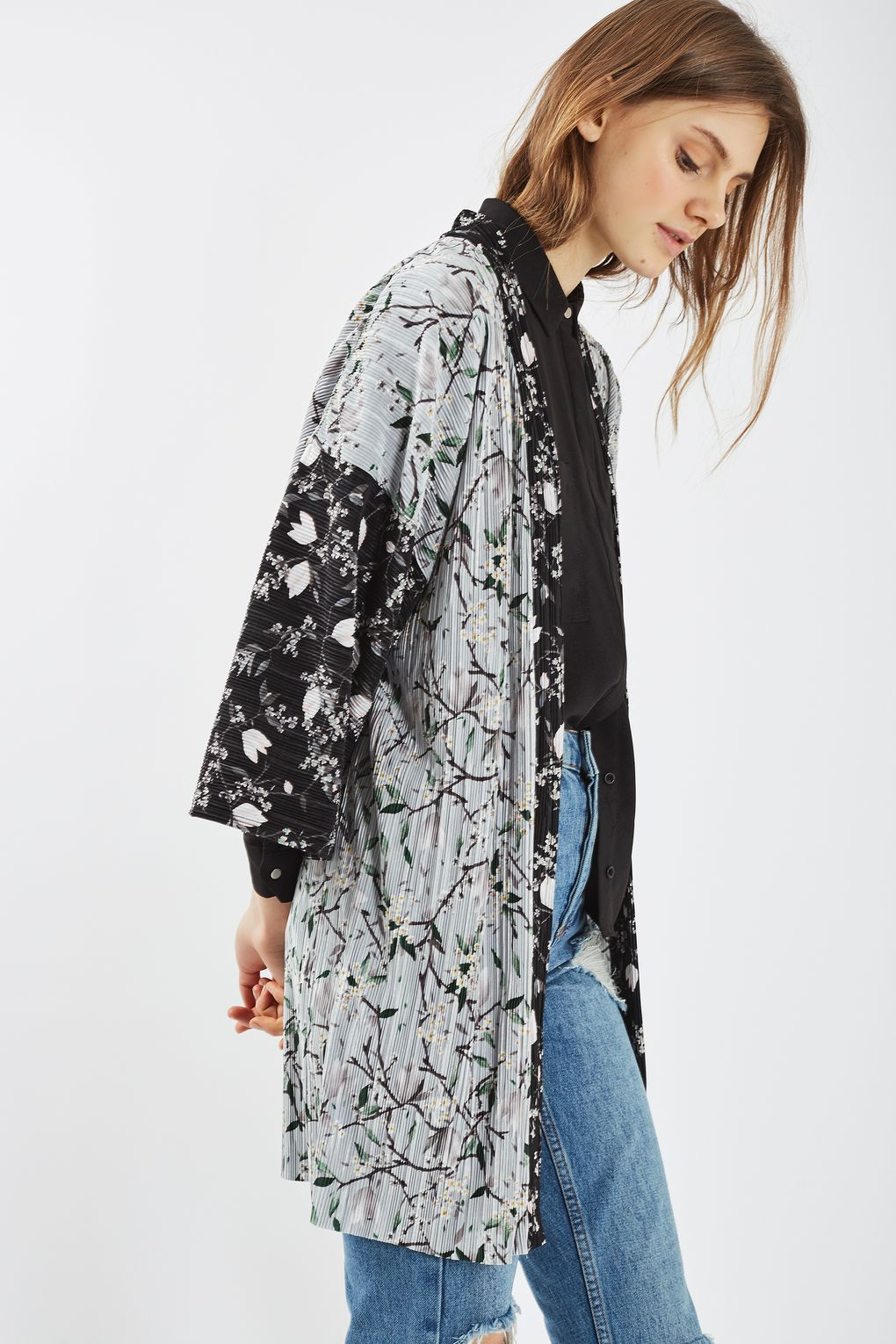 Plisse Print Longline Kimono - New In Fashion - New In | Kimonos ...