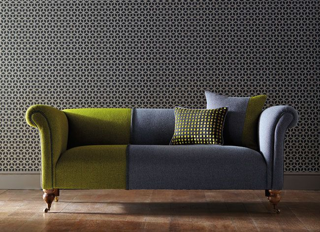 Sofa Dual Colour Upholstery Plus A Stunning Wall Paper Adding Dimension Texture Love The Combo Couch Upholstery Sofa Design Furniture Design