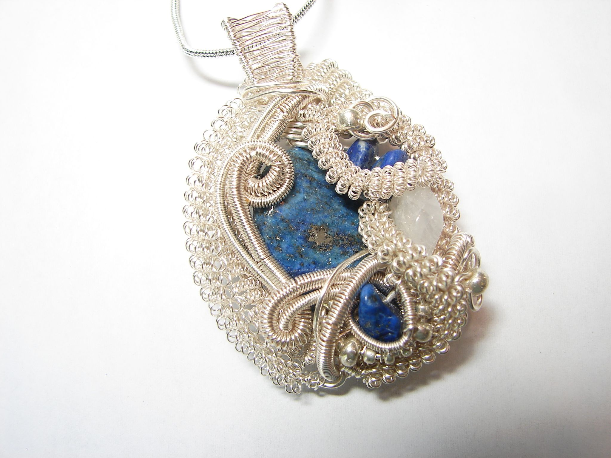 Wire Wrapped Gemstone Pendant - Lapis and Opalite | Wirework ...