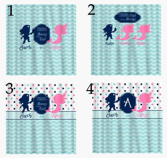 Pirate Mermaid Shared Shower Curtain Hot Pink Navy Sea Blue