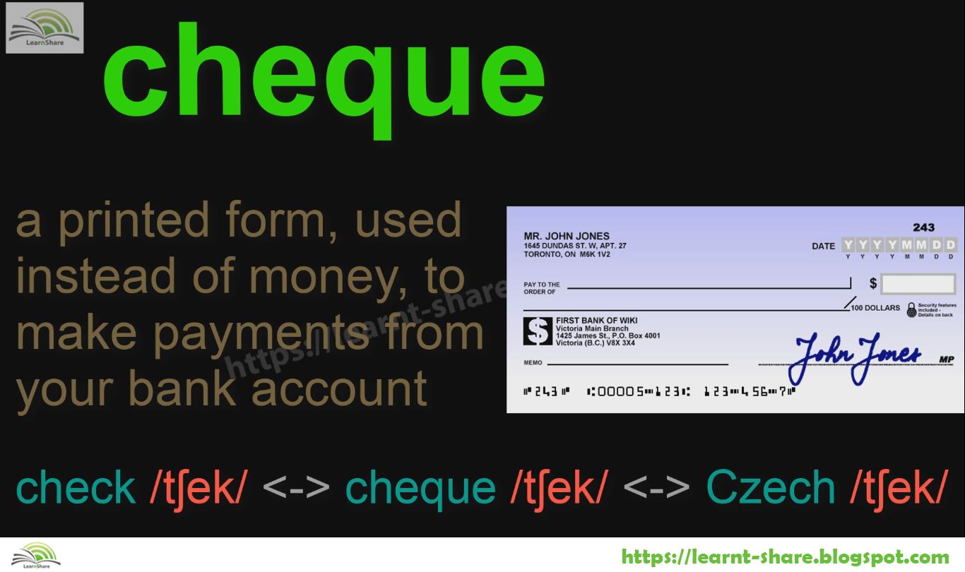 Cheque Check Czech English Homophones Trong 2020