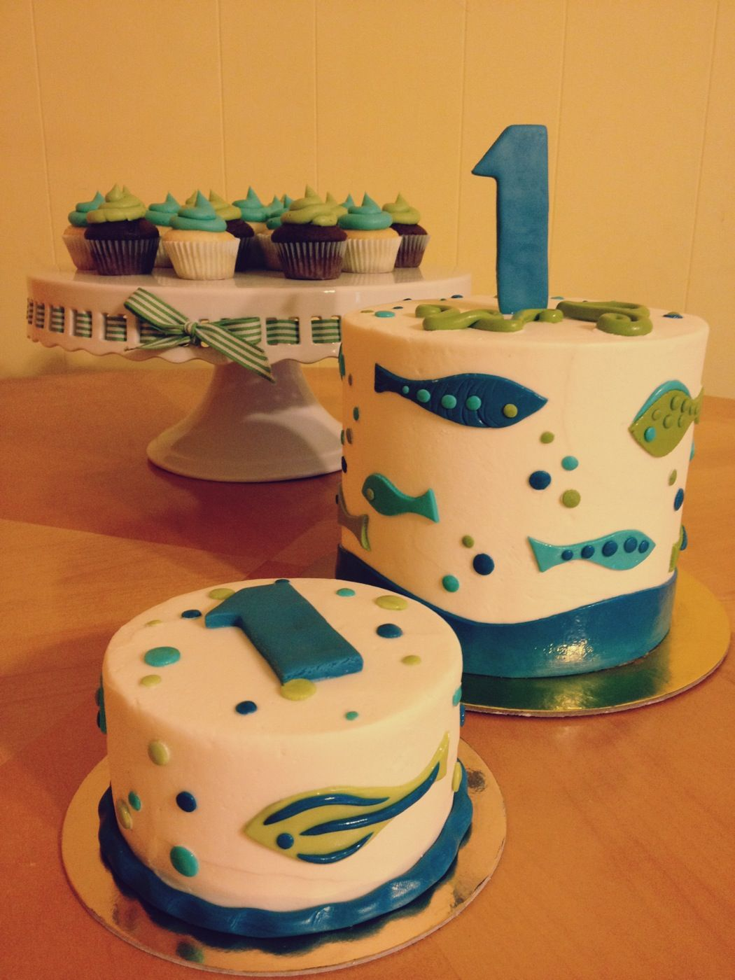 Green Blue Fish Themed 1st Birthday with Ombre Layers Smash Cake