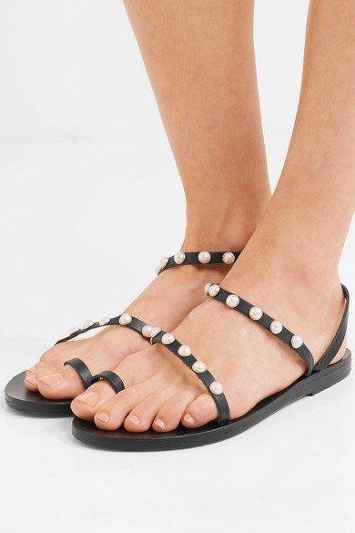 c334ee98c ANCIENT GREEK SANDALS Apli Eleftheria faux pearl-embellished fashionable leather  sandals