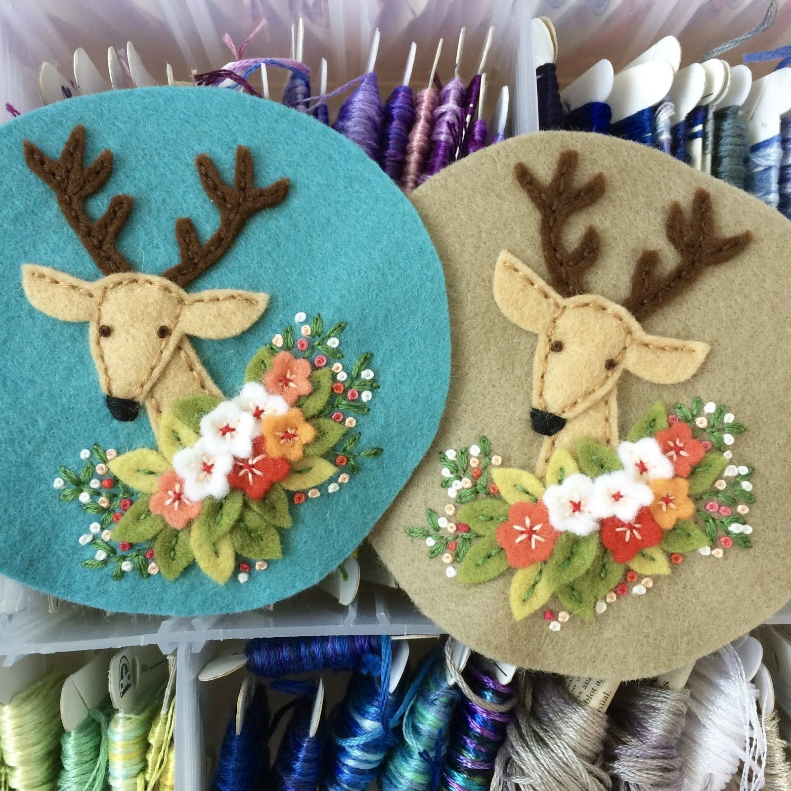 I spent this morning stitching deer pincushion tops. A new friend came over with some handwork of her own and we had a lovely morning of cr...