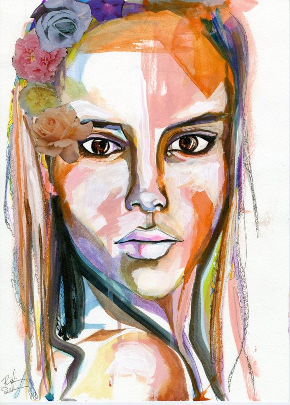 Petra by Rikki Sneddon Mixed Media collage colorful Female Portrait by SneddonStudios, $25.00 #art #painting #mixedmedia #collage #fashion #illustration #summer #floral #tribal