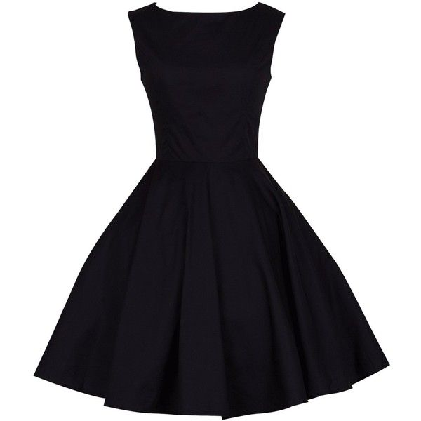 Anni Coco Women's Classy Audrey Hepburn 1950s Vintage Rockabilly Swing... (€16) ❤ liked on Polyvore featuring dresses, vintage dresses, rockabilly swing dress, vintage swing dress, tent dress and black dress