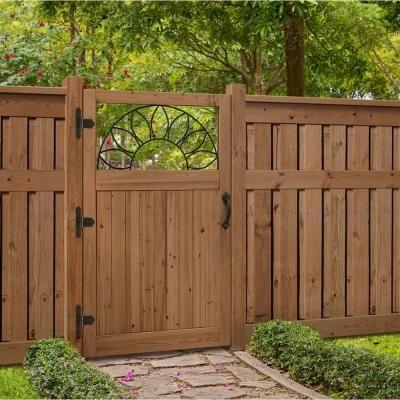3 5 Ft X 6 Ft Cedar Fence Gate With Sunrise Insert 201569 The Home Depot Wooden Garden