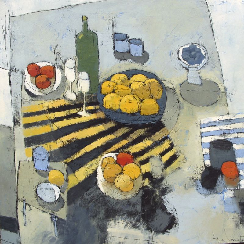 "Summer Table. Oil on Wood Panel. 30""x30"""