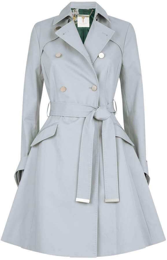 Ted Baker Grey Marrian Tie Cuff Detail Trench Coat Size