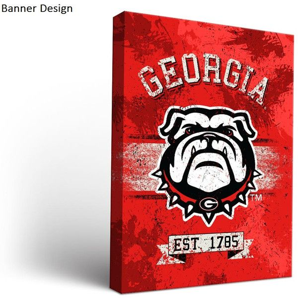 University Of Georgia Uga Bulldogs Canvas Wall Art ($30) ❤ Liked On  Polyvore Featuring