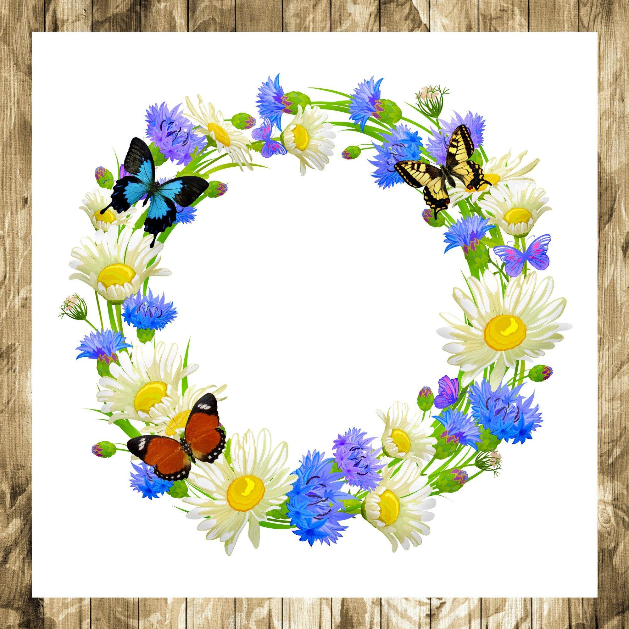 Photo of Schmetterlingsillustration – Blumenillustration – Schmetterlingskranz – Blumenkranz – Blumen – Schmetterling – Kranz – Illustration – Druckbar