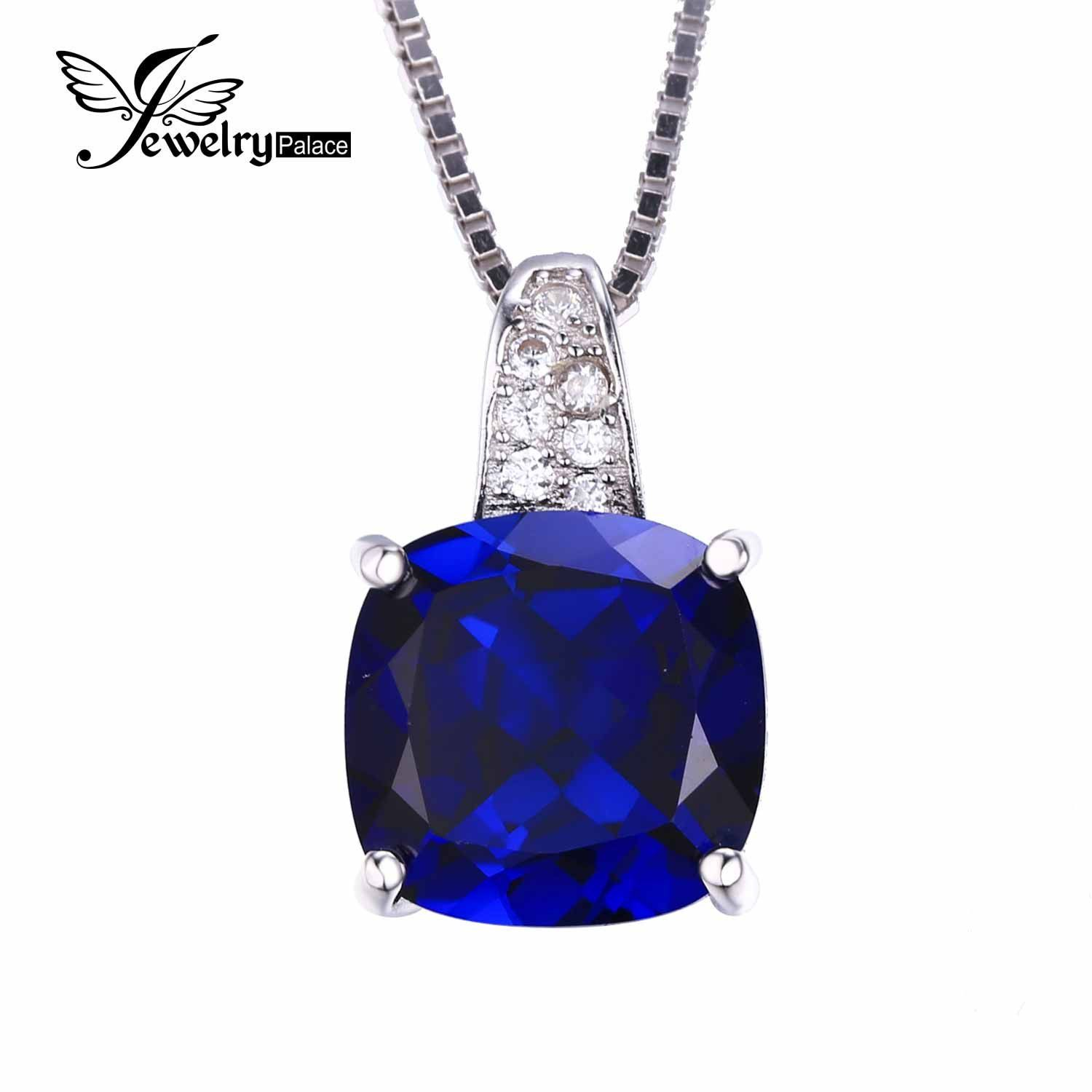 4.9ct Created Blue Sapphire Solitaire Pendant