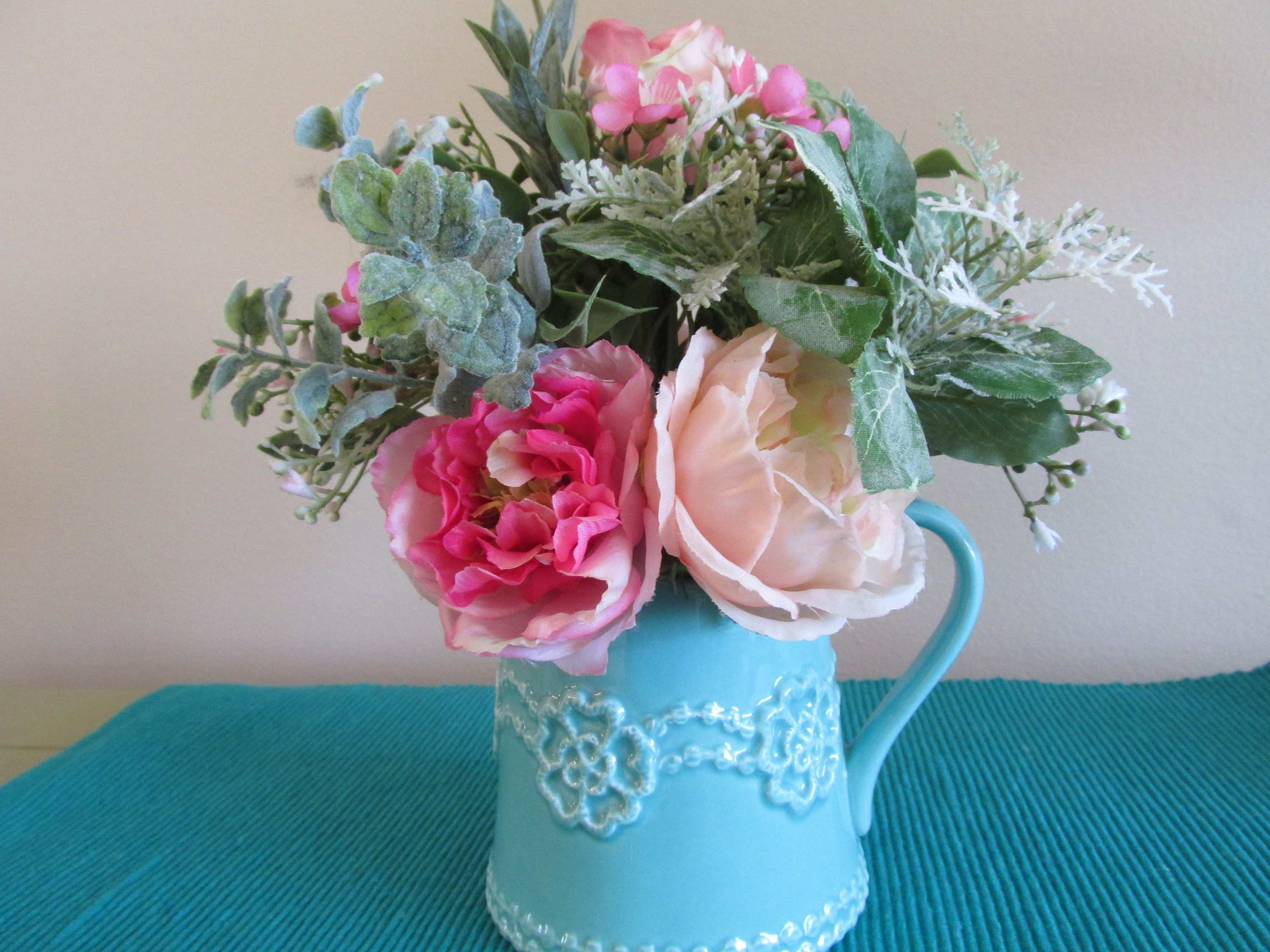Summer flower arrangement silk roses pink roses turquoise pitcher pretty summer floral small enough to fit almost anywhere see it at mightylinksfo