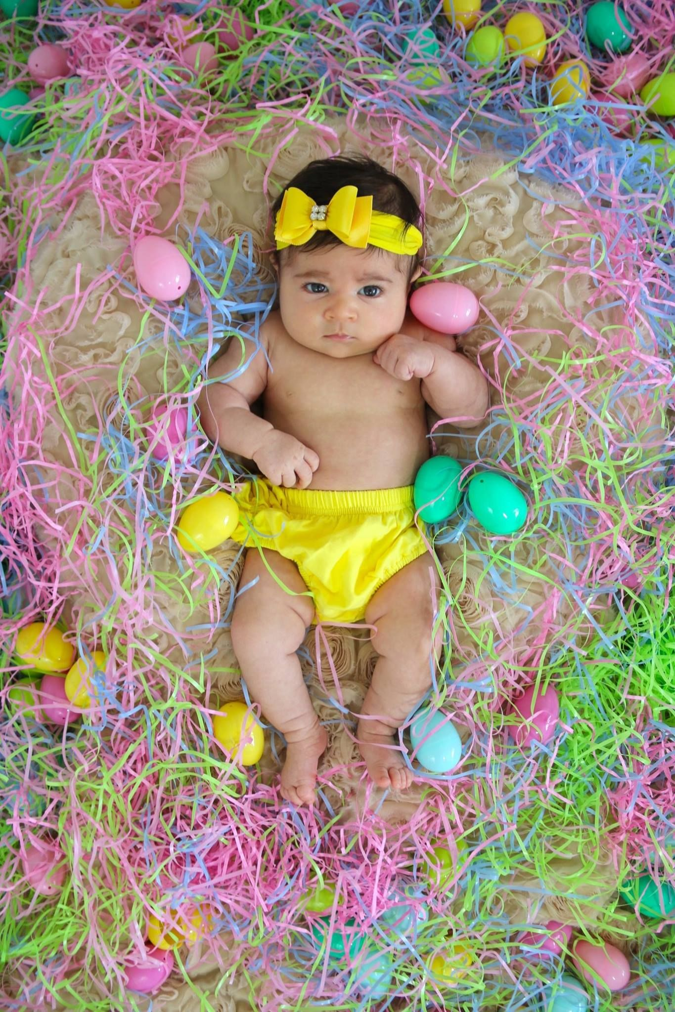 2nd Month Photoshoot Baby Girl Pictures Easter Theme Baby