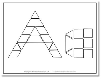 abc pattern block cards School - LA Pinterest Pattern blocks - pattern block template
