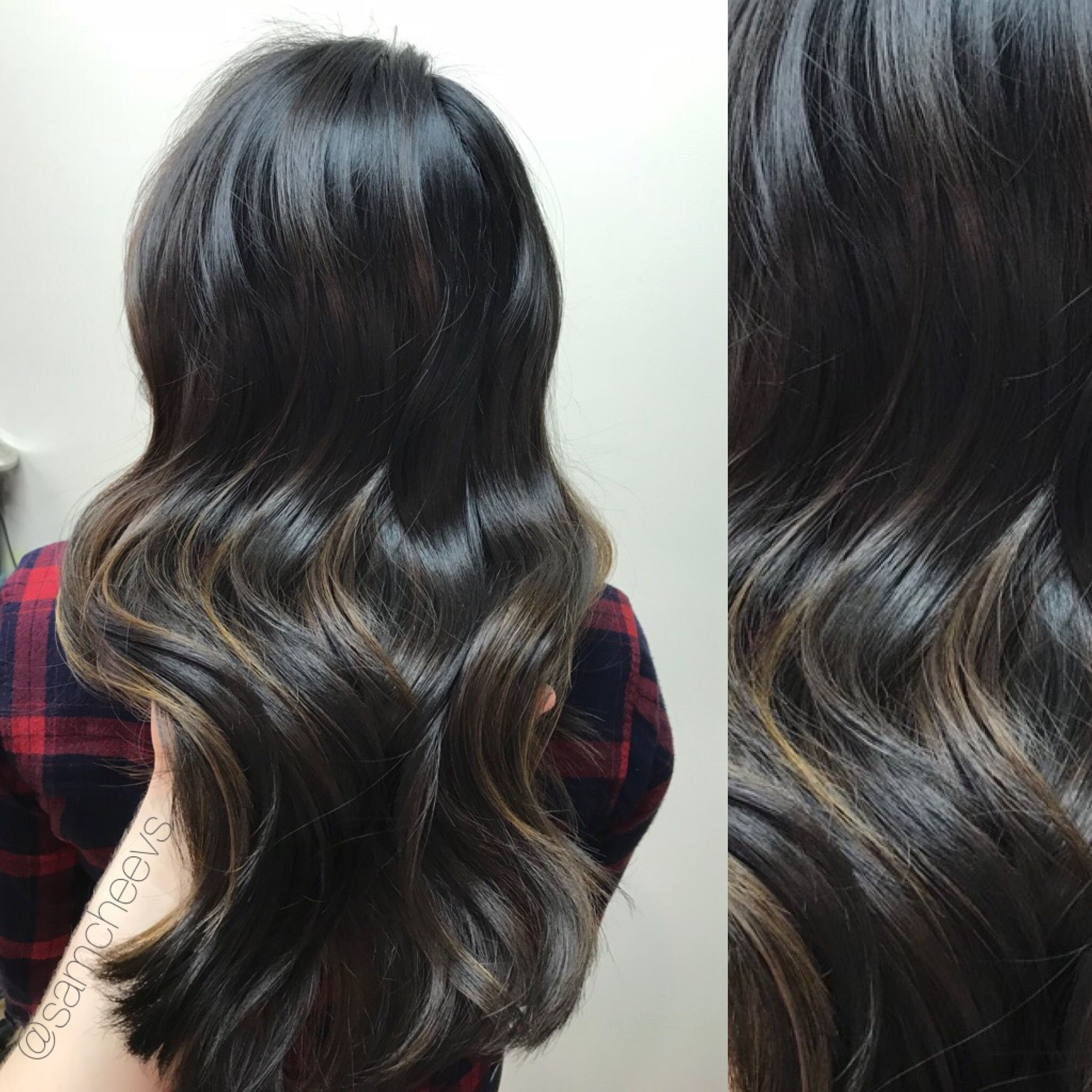 Brown Highlights For Dark Brown And Black Hair Types Color For Asian Hair Indian Latina Hispanic Eth Asian Hair Balayage Hair Brunette Long Hair Type