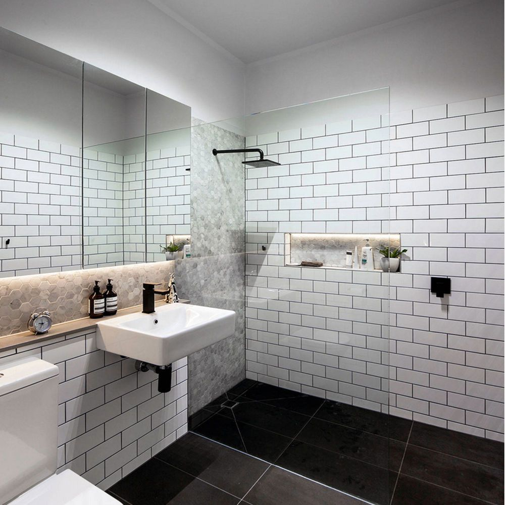 20x10 Flat Gloss White Brick Effect Wall Tiles 1 Sqm 50 Tiles Bathroom Wall Hanging Contemporary Bathrooms White Brick Tiles