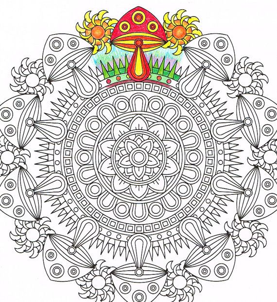 Mandala Coloring Page Midday Mushrooms Instant By CandyHippie