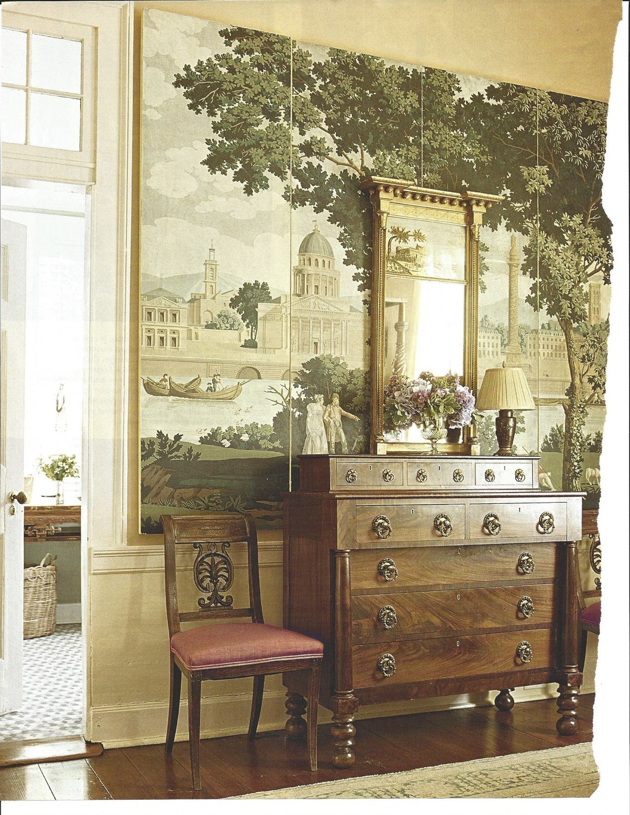Wall art in living antique scenic wallpaper anew pinterest