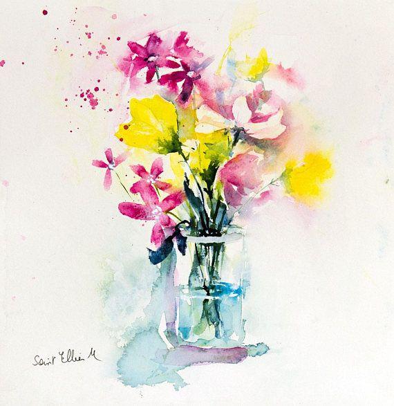 Aquarelle Bouquet De Fleurs Des Champs Dans Un Vase Peinture