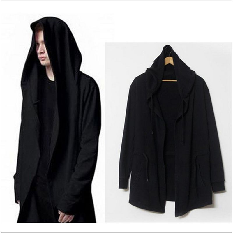 Mens Trench Cloak Tide Dark Open Cardigan Sweater Long Type Wizard Cloak Coat Black Trench Men's Clothing M- XXXL