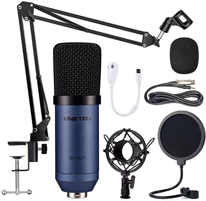 Condenser Microphone Zingyou Computer Mic Zy 007 Recording Bundle For Gaming Streaming Youtube Videos Professional Cardio Microphone Set Microphone Microphones