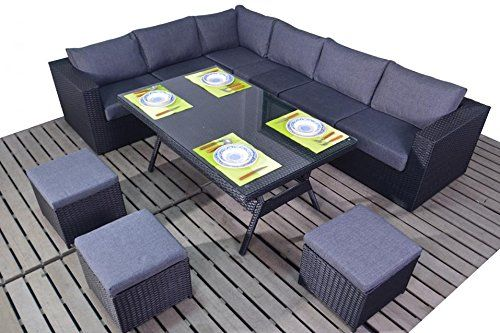 Prestige Rattan Garden Furniture Table Dining Corner Sofa Set Black How To Make Corner Sofa Rattan Garden Furniture Outdoor Sofa Sets